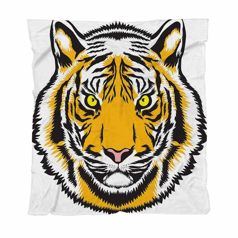 Calentar franela suaves mantas Mantas sólidas, dibujos animados de fantasía cara del tigre, la manta del sofá de coches Hoja de cama Manta Nueva manta del aire acondicionado
