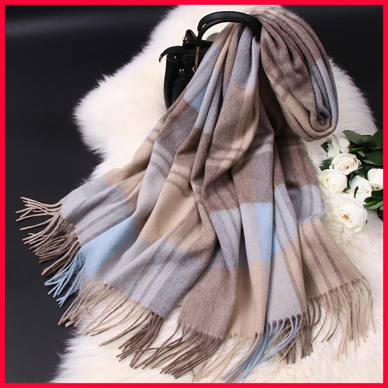 Classique British Wool style cachemire femmes Châle Automne et Hiver épaissie Plaid écharpe