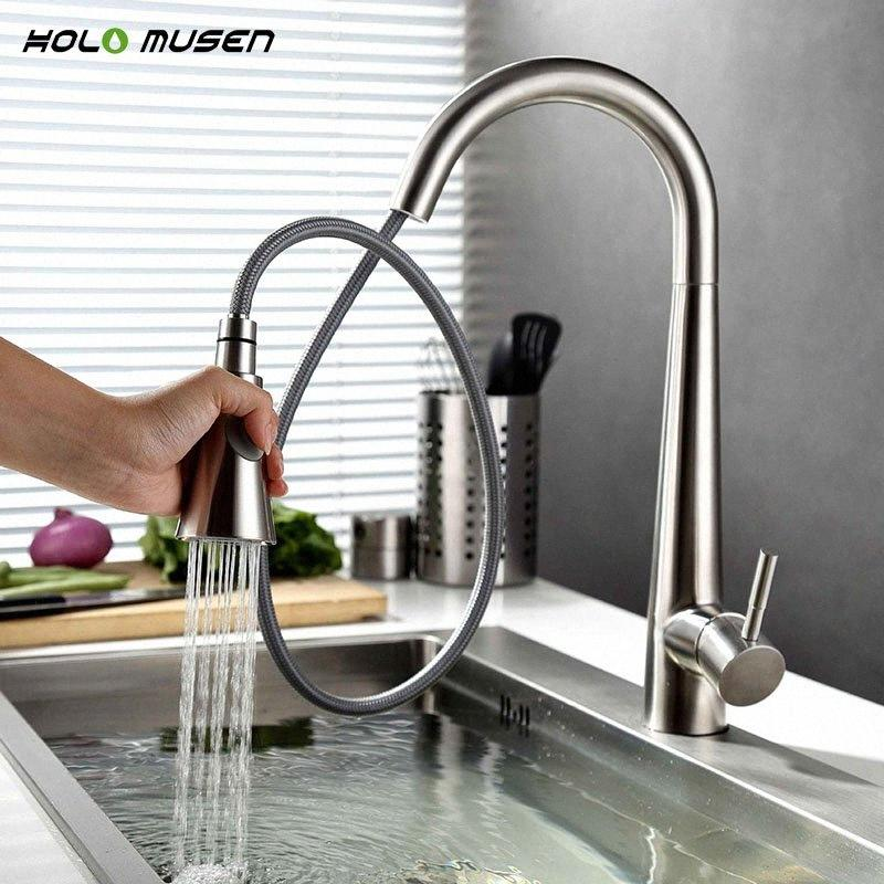 Lead-Free Hot Cold Kitchen Mixer Tap Brushed Nickel Kitchen Tap Pull Out SUS304 Stainless Steel Faucet Mixer uO96#