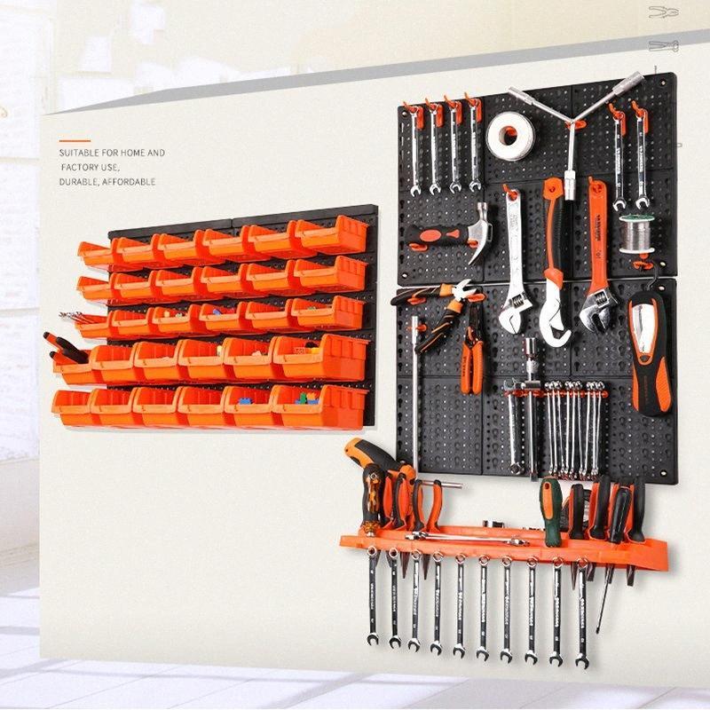 Nueva montado en la pared cuba de almacenamiento estante de herramientas de piezas Garaje Estantería Organizador de caja de componente plástico que cuelga del gancho Caja de herramientas GPRE #