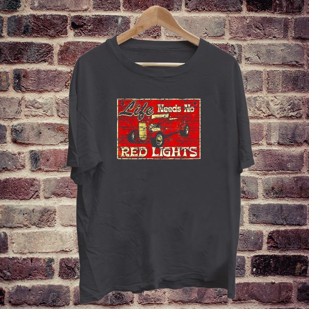 2020 Летний стиль 100% хлопок Vintage Hot Rod Жизнь не нуждается в Red Lights Rat Rod Черная майка тройник S-2XL футболочку