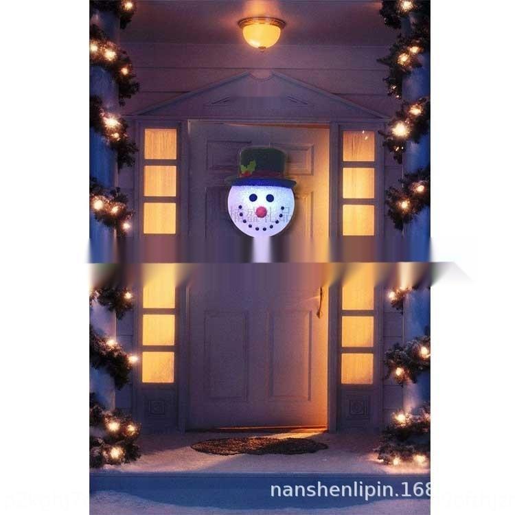 muñeco de nieve cabeza bORUf Producción con lámpara de la puerta cuelga el muñeco de nieve LED flash de EVA Wall Street Wall lámpara del pasillo O3Mr0