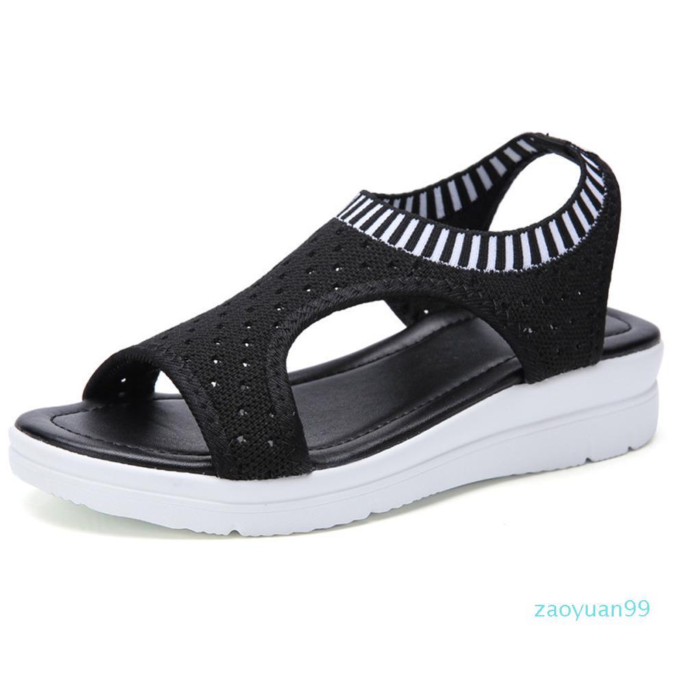 Tasarımcı-Marchwind Kadınlar Yaz Sandalet Geçmeli Düz Bayanlar Sandalet Rahat Kama Kadın Ayakkabı Moda Nefes Kız Sandalet