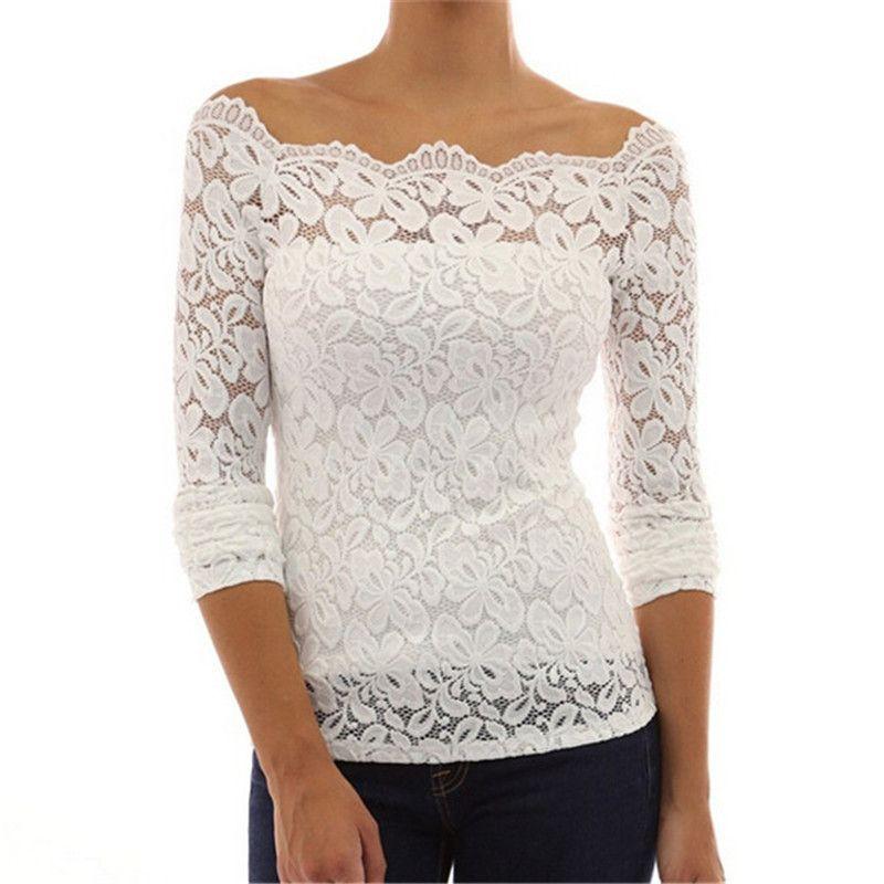 Autumn Blouses Shirt Sexy Women Off Shoulder Slash Neck Lace Crochet Shirts Long Sleeve Slim Casual Tops Shirt Blousa Y200827