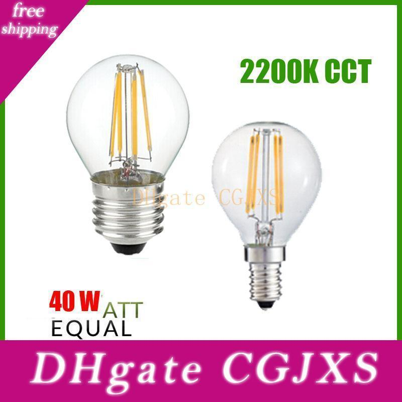 2200k Cct 2w 4w 6w G45 Led Filament Bulb ,E12 E14 E27 Lamp Base ,Ac110v Ac220v Warm Yellow For Home Shop Hotel Decorate