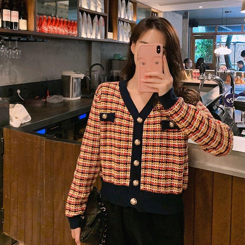 APCyh uTbRF casaco cardigan estilo coreano Brasão ocidental estilo camisola camisola das mulheres curto solta malha da manta de moda