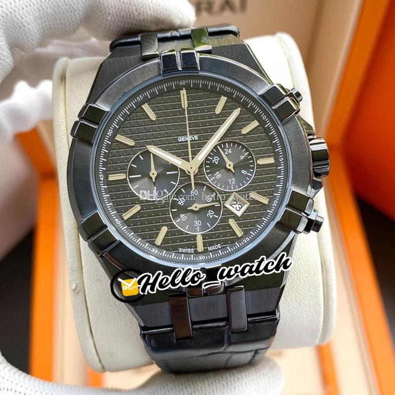 New Overseas 5500V Japan OS Quartz Chronograph Mens Watch Black Gray Dial Stopwatch PVD Black Steel Case Leaher Strap Watches Hello_Watch