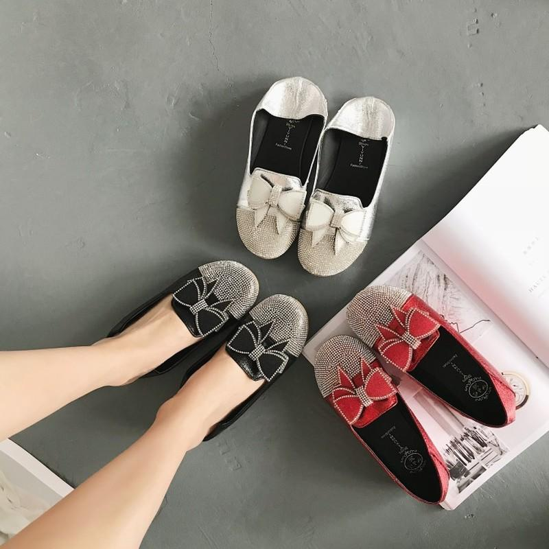 Donne Mocassini molla piatta scarpe da donna paillettes Fisherman Casual Shoes Leggero Traspirante d'oro fannulloni pigri FlatsJ15-46
