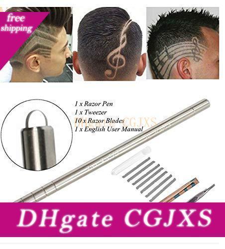 Hair Tattoo Edge Hair Razor Pen Suitable For Hair Design Stainless Steel Face Plastic Equipment Engraving Pen /10 Blade