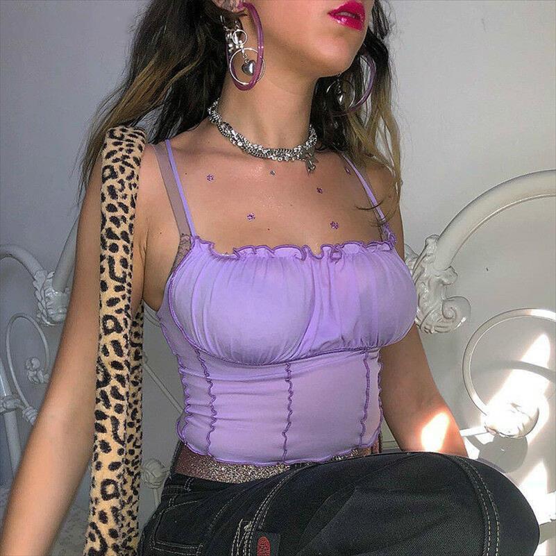 Vender Hot Summer Mulheres roxo Vest Moda mangas Strapless Sólidos Cortar Ruffles Tops Tanques capuz senhoras Camisole Mulheres