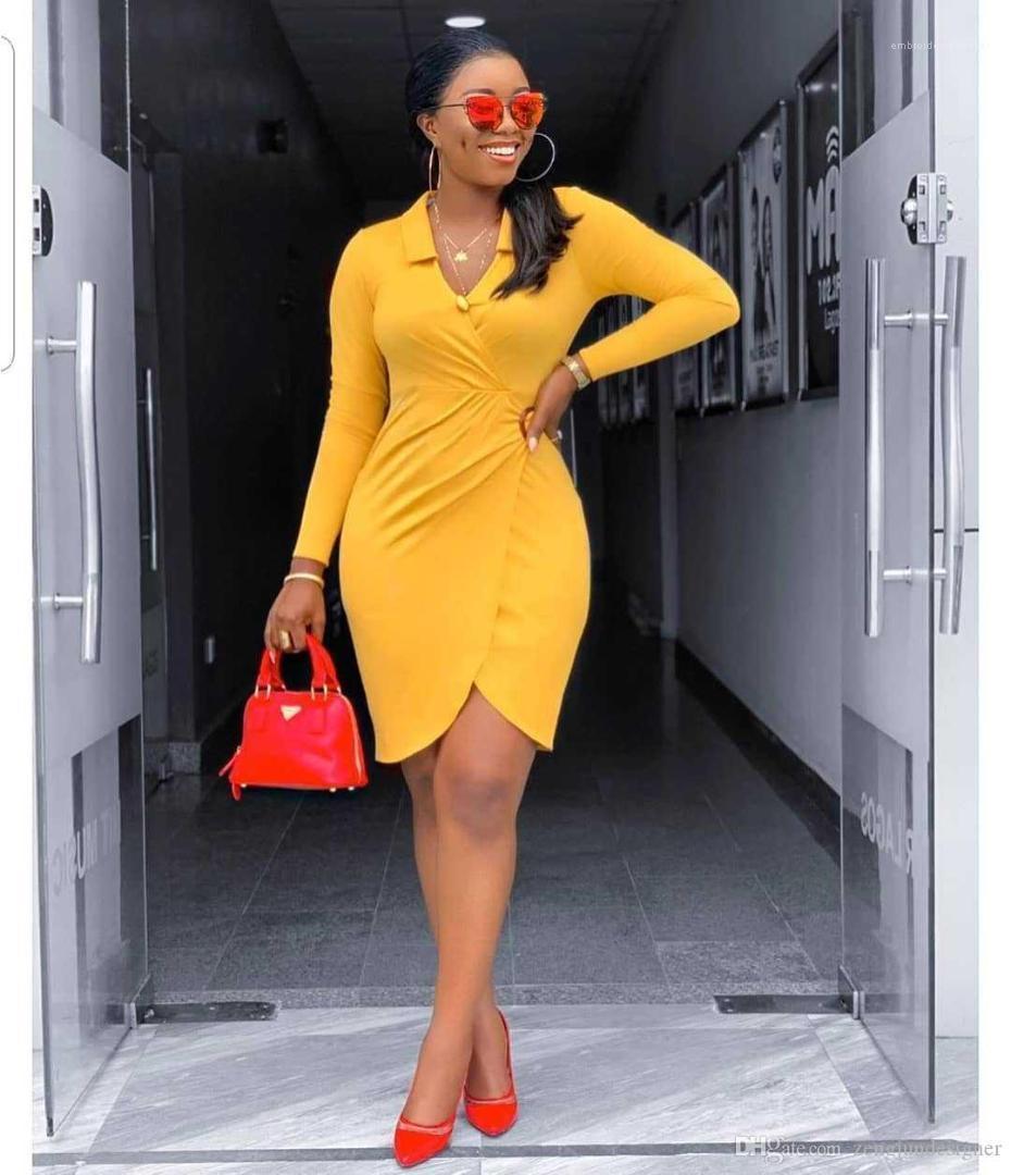 Gece Kulübü Elbiseler V Yaka Uzun Kollu Katı Renk Asimetrik Kadın Giyim Sonbahar Gündelik Giyim Kadın Seksi Tasarımcı