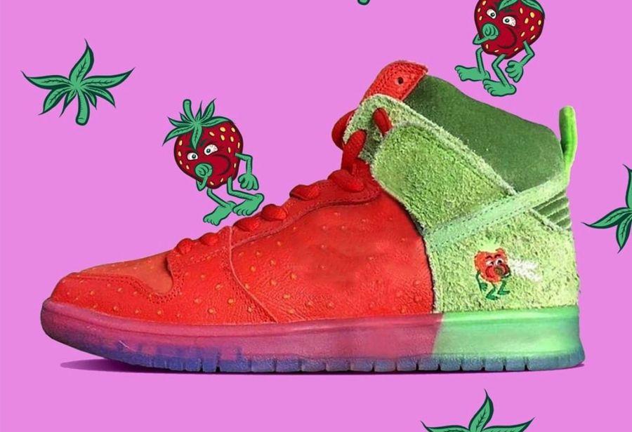 Новые Аутентичные SB Dunk High Клубничный Кашель замша Мужчины Skate обувь Баскетбол обувь Спорт кроссовки с оригинальным Box CW7093-600