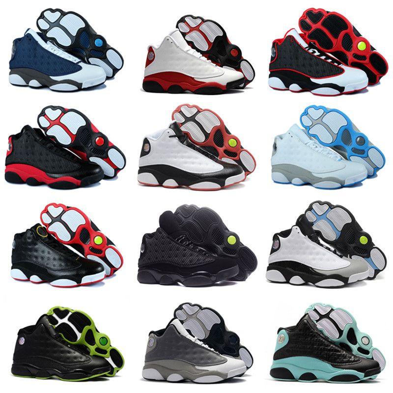 Mens di alta qualità dei pattini di pallacanestro 13 Chicago Nero Rosso Bianco Blu 3m Black Cat He got game Uomo Donna 13s Sport Sneakers