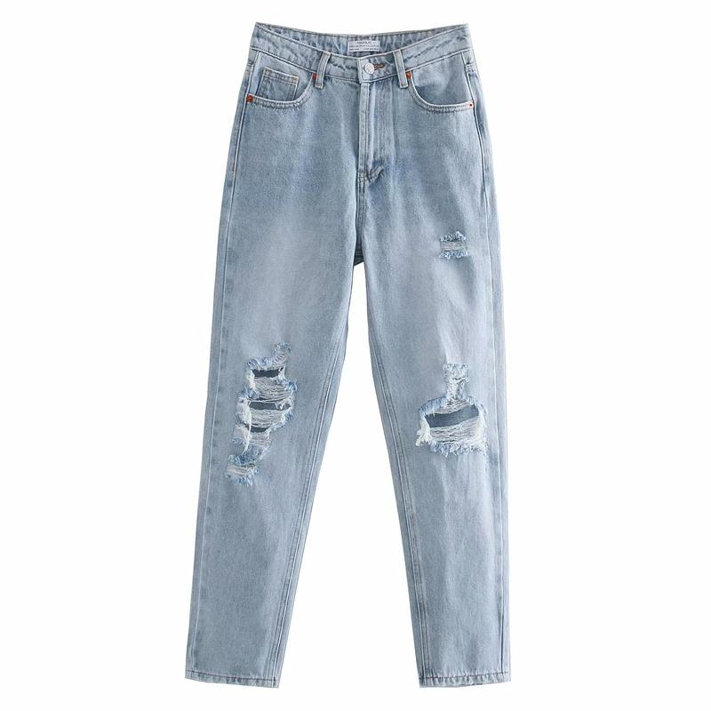 RR informal Broken vaqueros del agujero de las mujeres de la manera floja Vaqueros cómodo elegante de las mujeres la altura del tobillo pantalones vaqueros Mujer Damas SA