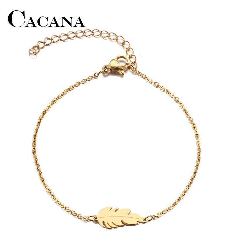 Link, Chain CACANA Stainless Steel Bracelet For Women Feather Man Gold And Silver Color Pulseira Feminina Lover's Engagement Jewelry
