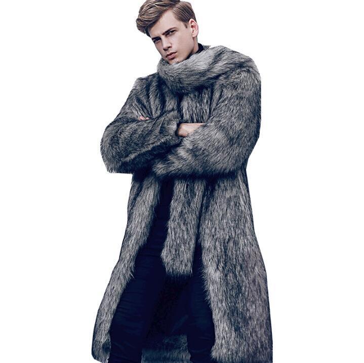 para hombre de la chaqueta de cuero de imitación de piel de visón gris zanja hombres de la capa caliente de la capa de piel de cuero chaquetas sueltas de ropa otoño invierno espesar bai237 moda