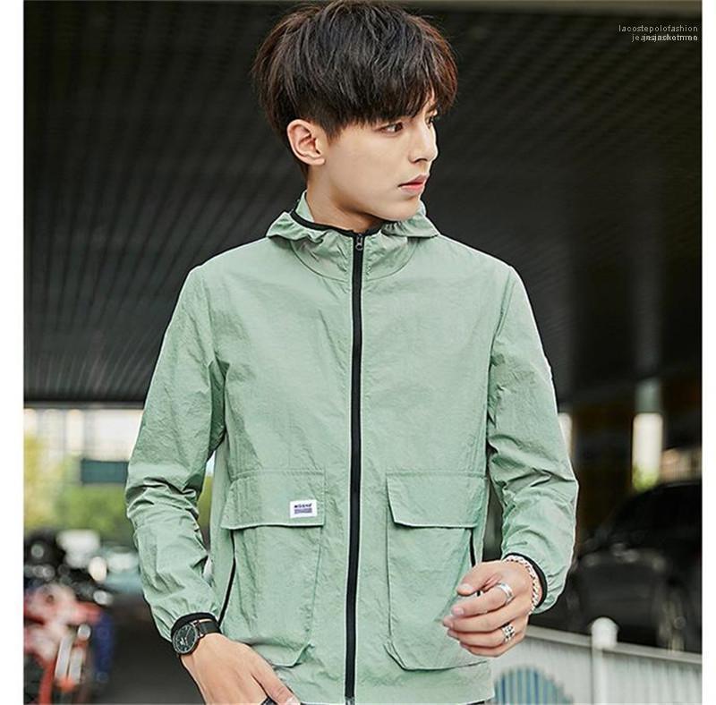 Mäntel Frühling Mens Outwear mit Zipper Fashion Designer Solid Color Jacken mit Kapuze Langarm-Herren