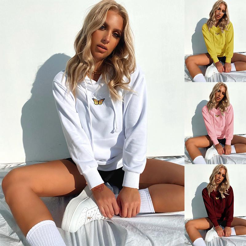 Abbigliamento Autunno progettista delle donne casual con cappuccio o collo farfalla ricamo Big Pocket Felpe Street Style Femminile