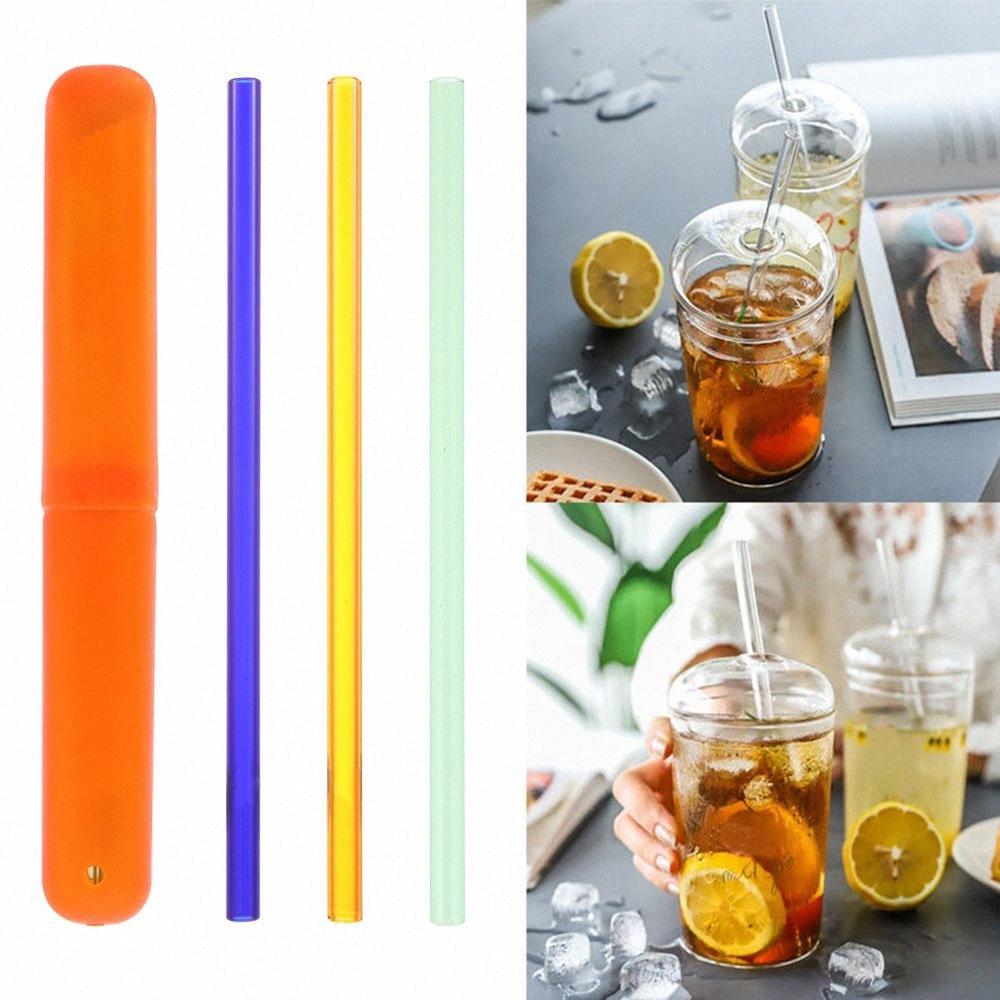 4PCS / Set riutilizzabile resistente a temperatura ambientale di vetro Acqua Cannucce con il detergente spazzola di plastica di sicurezza Bar Cannucce strumento SS3Z #
