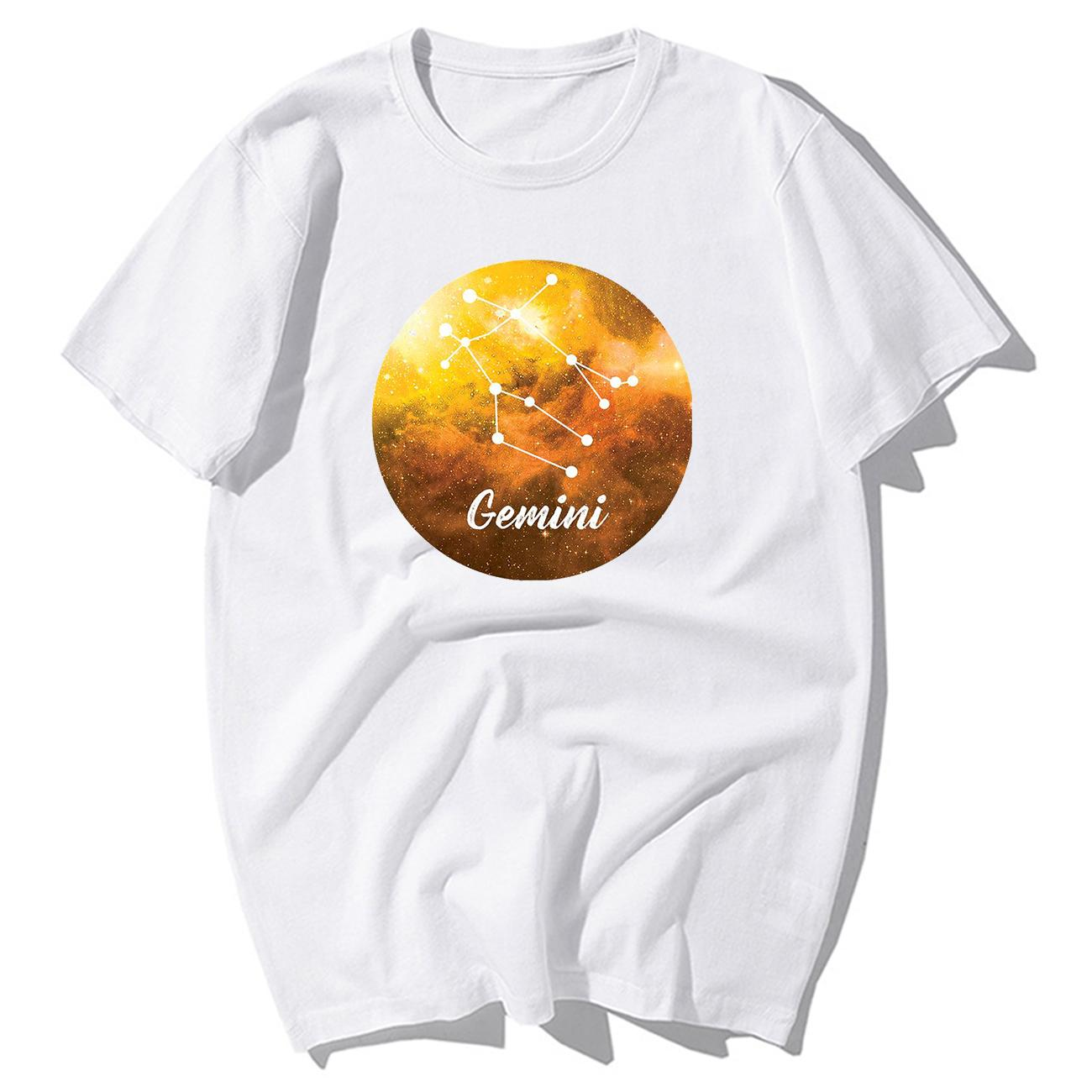 Dodici costellazioni maglietta vendita calda Gemini Stella T-shirt Coppie Uomini Man Women in Love maglietta del cotone di modo SUPERA IL T-shirt
