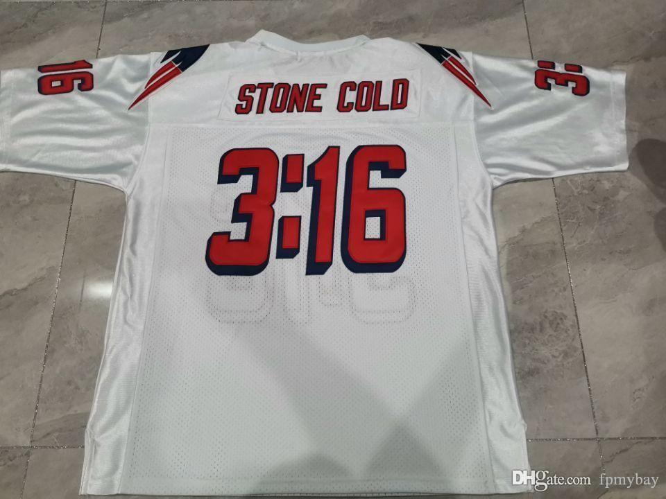 Hombres personalizados Piedra Frío Steve Austin # 3:16 Equipo emitido Blue White College Jersey Tamaño S-5XL o Personalizado Cualquier nombre o Number Jersey