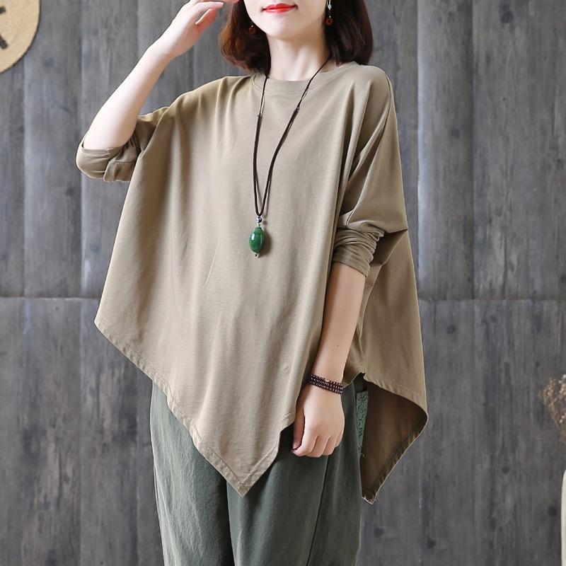 dCyBq Spring top T-shirt Manteau et Automne Nouveau manches lâche grande taille de chauve-souris minceur tout match irrégulier à manches longues femmes T-shirt Haut-coréen