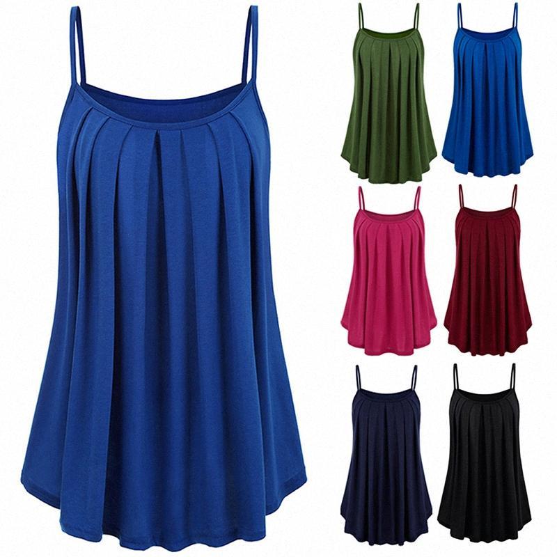 2019 Alta donne Strappy Vest swing solido svasato Maglietta senza maniche per l'estate DSM 0MZ7 #