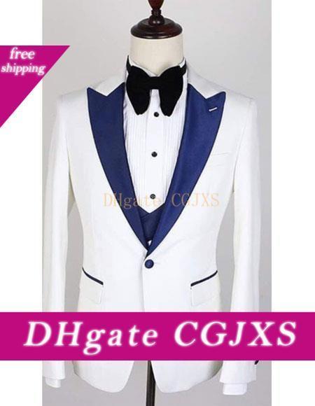 De haute qualité Un bouton Costumes de mariage des hommes de pointe Trois Pièces Lapel Business Groom Smokings (Veste Pantalon Gilet Tie) W1087