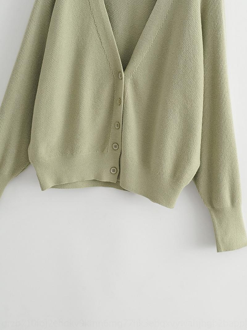 roupas ISk0J Q3084-coreano mulheres para 2020 outono e inverno cardigan Novo estilo preguiçoso cor sólida V-neck camisola de manga longa camisola S7CxX w