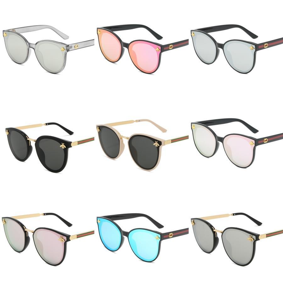 2020 Nueva señora de gran tamaño gafas de sol sin montura de la plaza abeja hombres de las mujeres pequeña abeja Lentes Gradiente Gafas de sol UV400 Mujer # 506