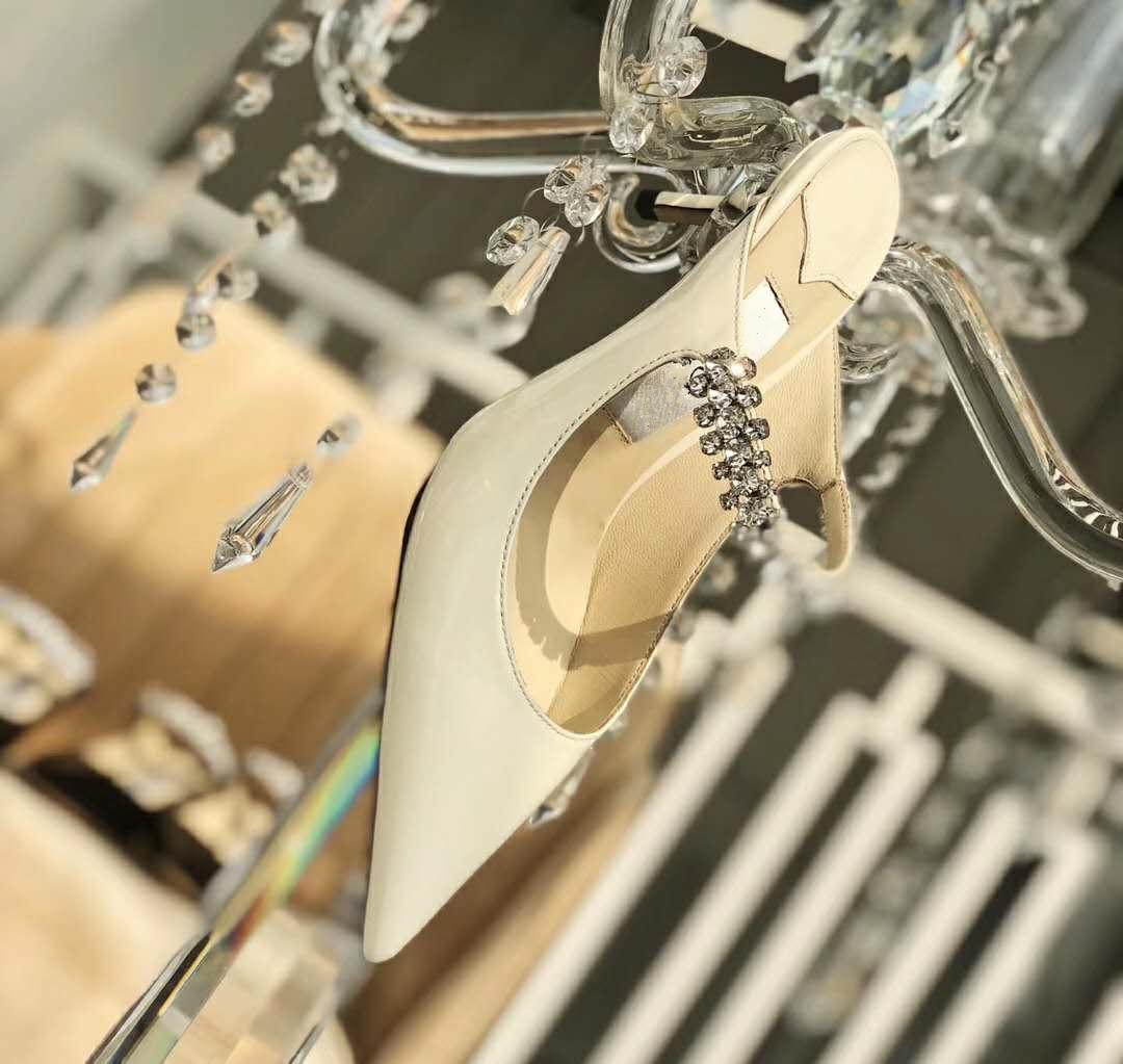 Top qualité en cuir verni lin avec Mulets cristal Bracelet 7cm 10cm talon Designer avec la boîte eu 34 à 40 tradingbear
