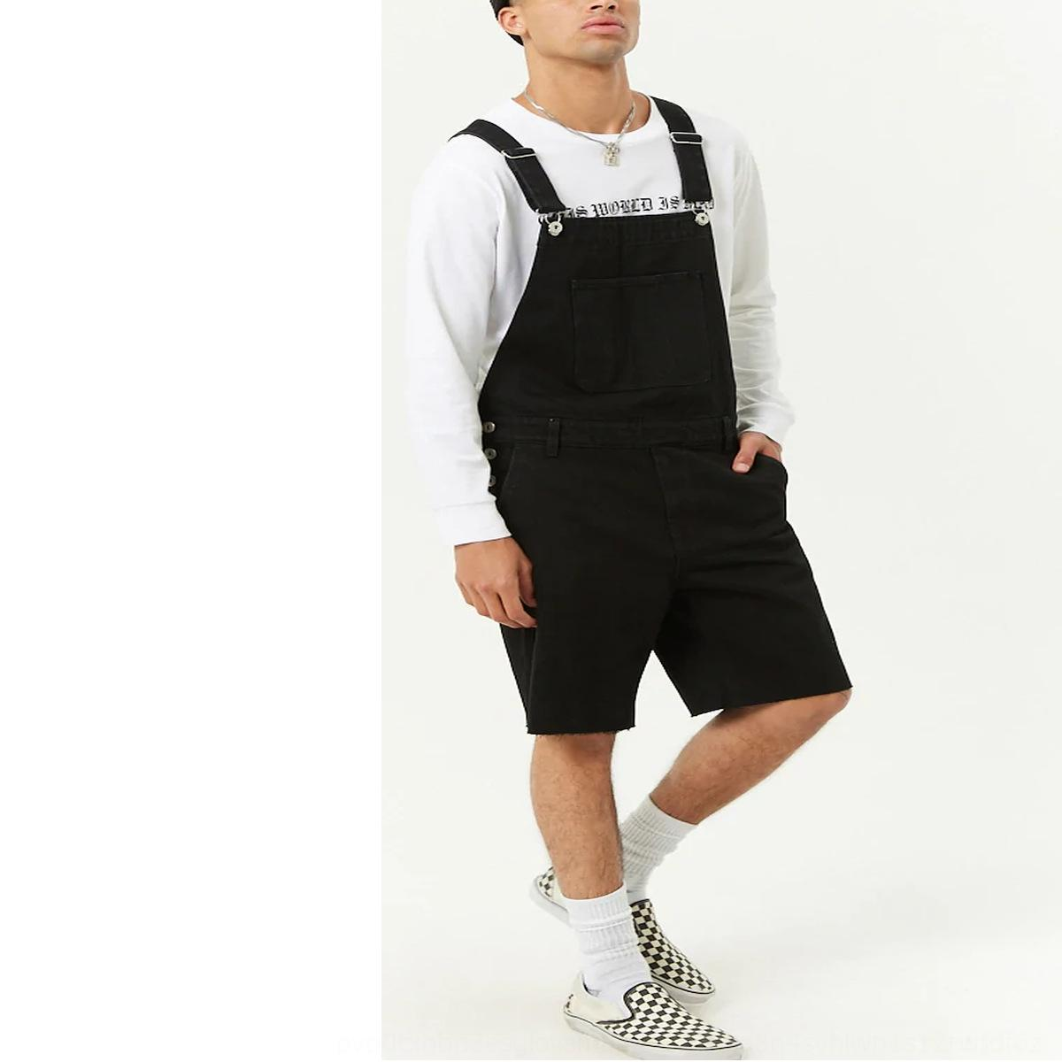 Männer neue 2019 Denim riss Overalls 2019 neue Jeans-Männer riss Shorts einteilige Shorts einteilige Overalls qHAeL