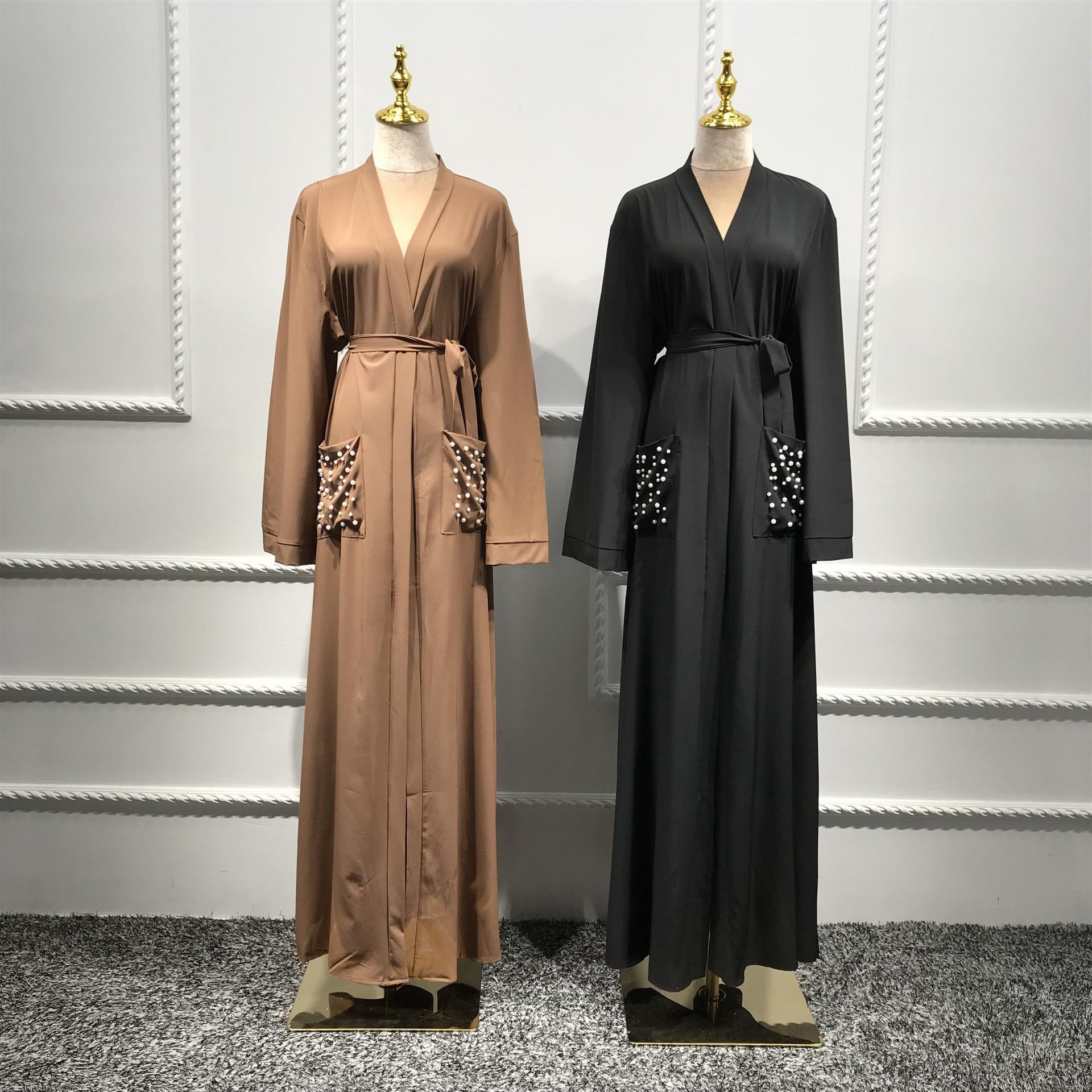 2020 Dubai veste cardigan colore puro con la perla vestito dalla perla del vestito tasca LR292