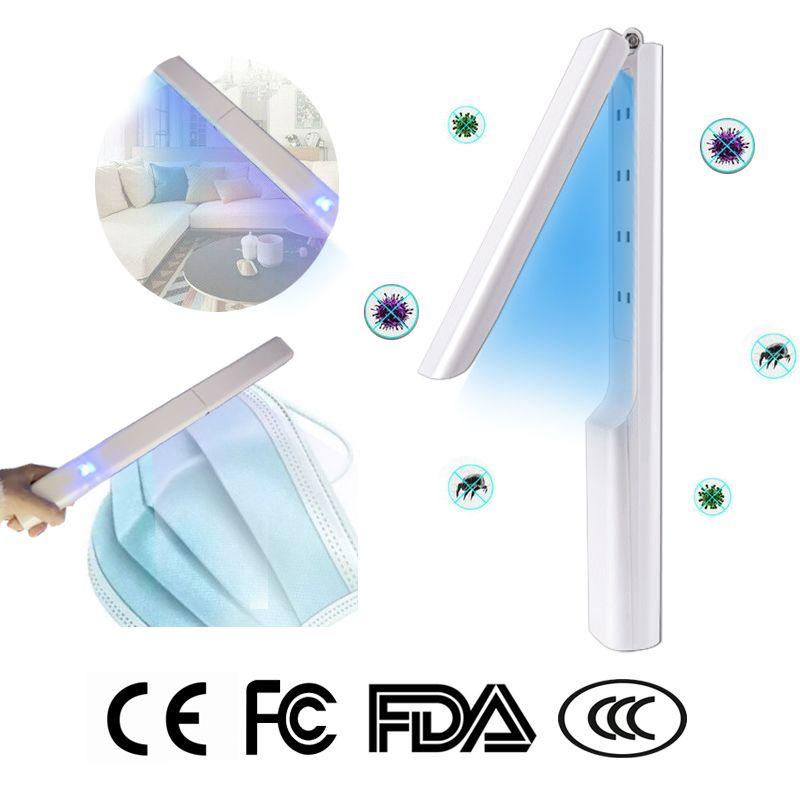 LED 휴대용 UV 소독 스틱 등 휴대용 UVC 라이트 살균 용 자외선 살균기는 홈 여행 살균 램프 USB 충전 마스크