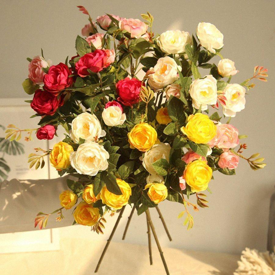 5 Head Silk Camellia Rose Artificial Flowers Long Plastic Stem Wedding Road Lead Faux Flowers Fabric Fake Flower Home Decoration CWDf#