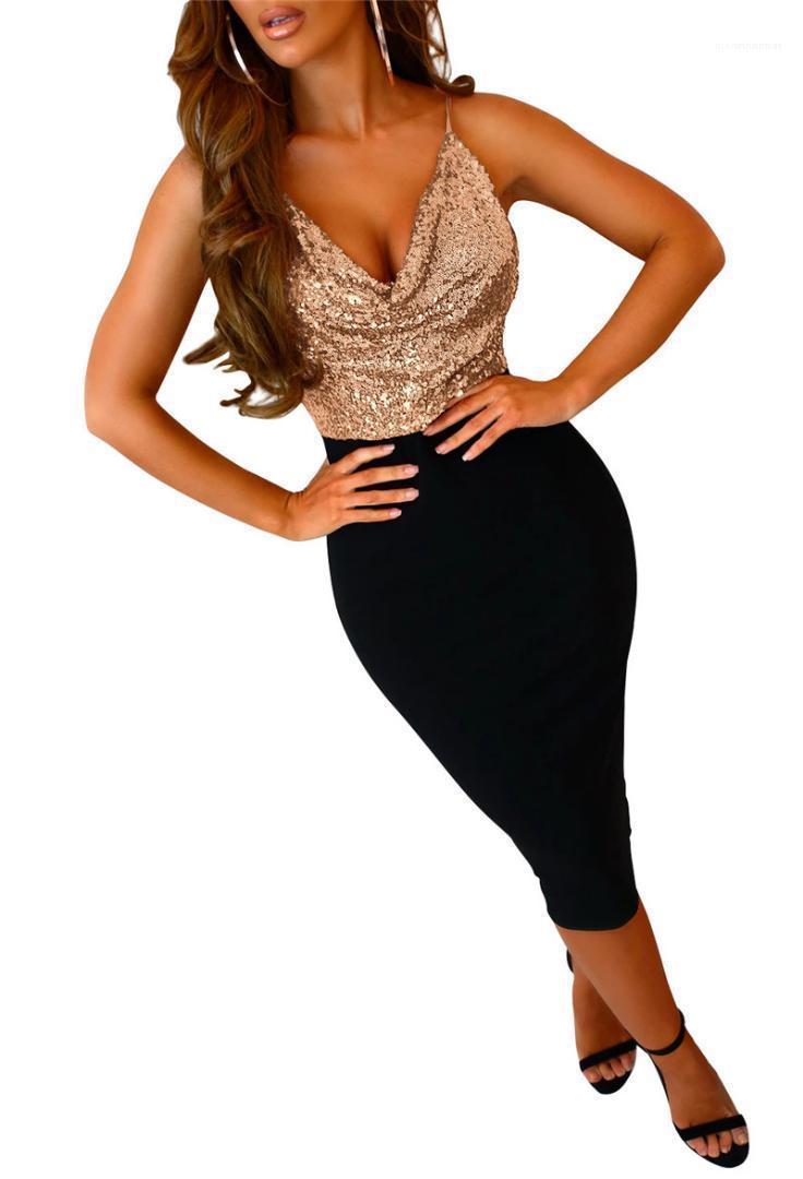 Повседневный естественный цвет платья женщин Дизайнер одежды Женщины Спагетти ремень платья Sexy V-образным вырезом платья Блестки панелями