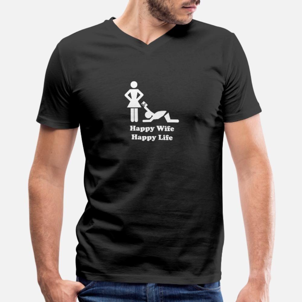 Glückliche Frau Happy Life Lustiges T-Shirt Männer-Charakter Baumwolle S-XXXL Kleidung Interessante beiläufige Frühling Kawaii Hemd