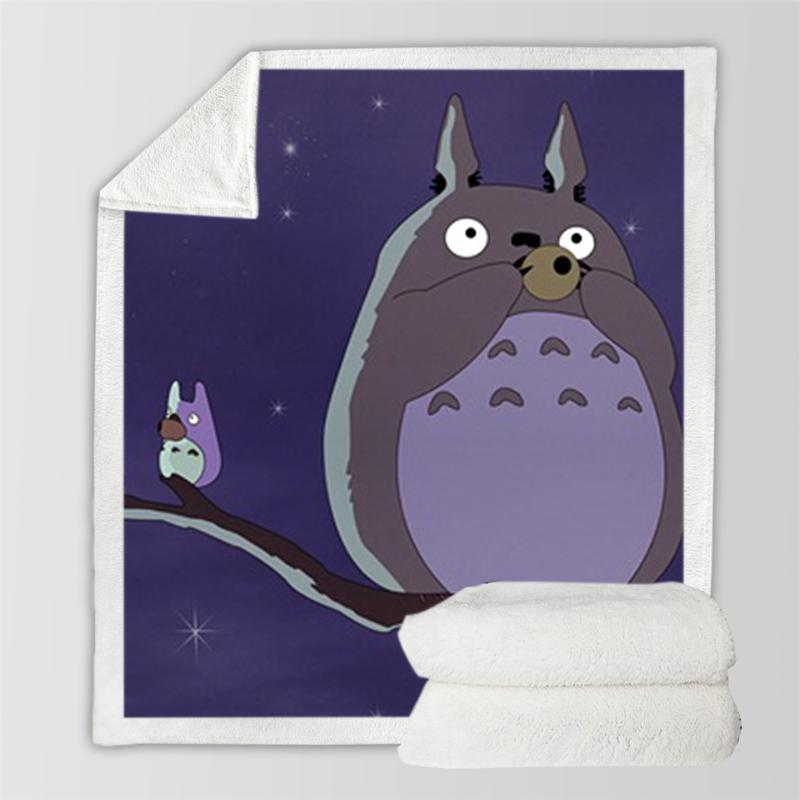 Totoro Blanket Soft Sherpa Fleece Home Warm Blanket Kids Sofa Travel TV Thick 150x200cm Anime Character Thin Bedding