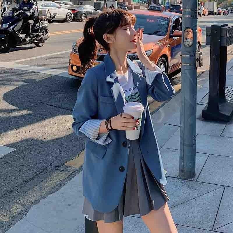 2020 nuova celebrità in linea piccolo abito stile coreano primavera giacca casual vestito Slim Fit cappotto di autunno delle donne del rivestimento brtoO