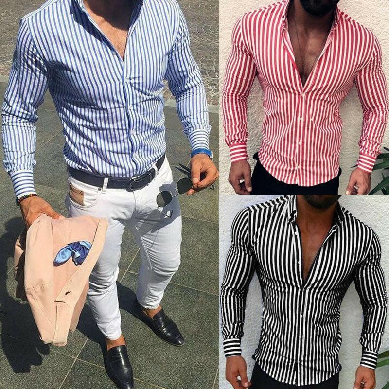 Erkek Casual Gömlek Lüks Moda Kore Tarzı Slim Fit Şerit Gömlek Uzun Kollu Elbise Çizgili Blusa Homme Ropa