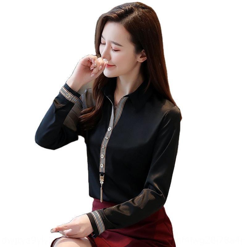 2J6HH de la gasa de las mujeres de manga larga 2020 del resorte nuevas de ajuste estrecho y adelgazar la moda estilo coreano camisa de estilo occidental temperamento ocasional yMFYy sh