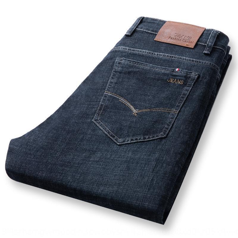casuais fina e Jeans Jeans Verão dos homens em linha reta solta calças dos homens de meia-idade casuais verão esticar todo-jogo calças xKs5I
