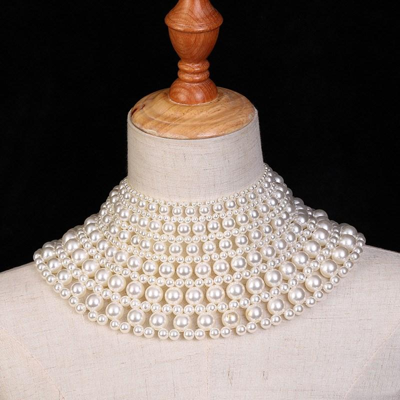 Cheap Fashion New Gorgeous Beautiful Gold Plated Handmade Twisted Cream Pearl Necklace Women's Gift Jewelry Set Bridal Necklace Dubai Design