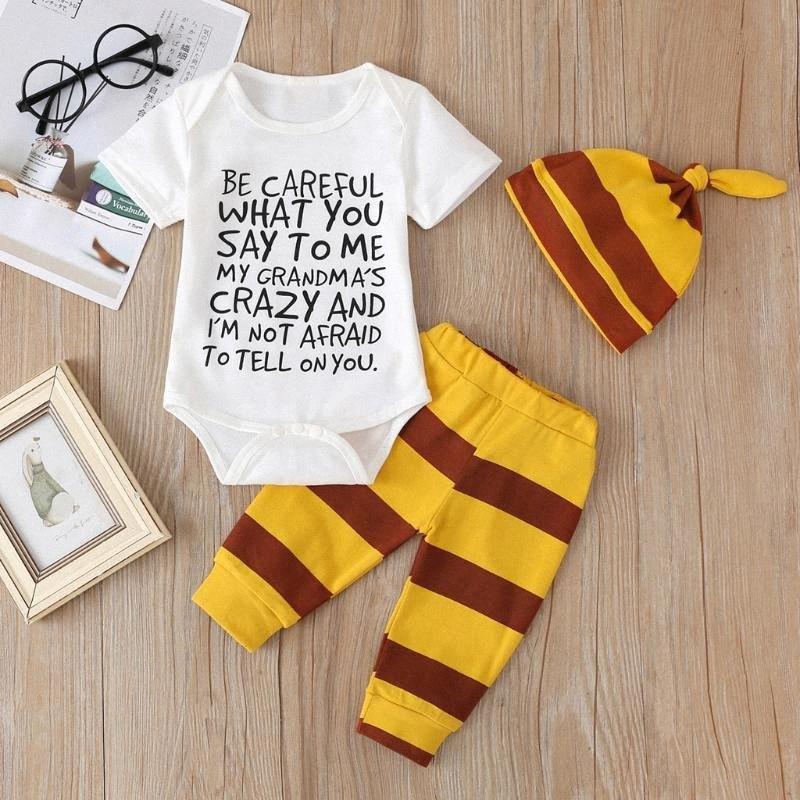 Junge Kleidung New 0-24M Baby-Brief robe + gestreifte Hose + Hut dreiteiliger Anzug, was du mir sagen o0M6 #