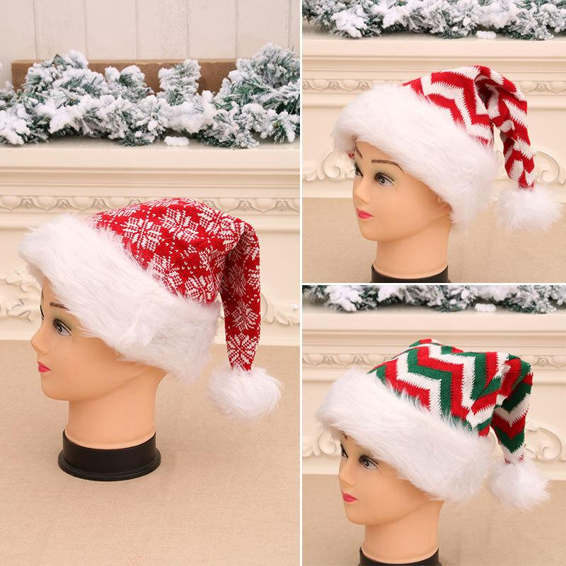 3Styles Christmas Striped Xmas Cappello Decorazioni Red Babbo Natale Babbuccia Borsa Posate Borsa Party Decor natale Peluche Ornamenti Bambini regalo FFA2848