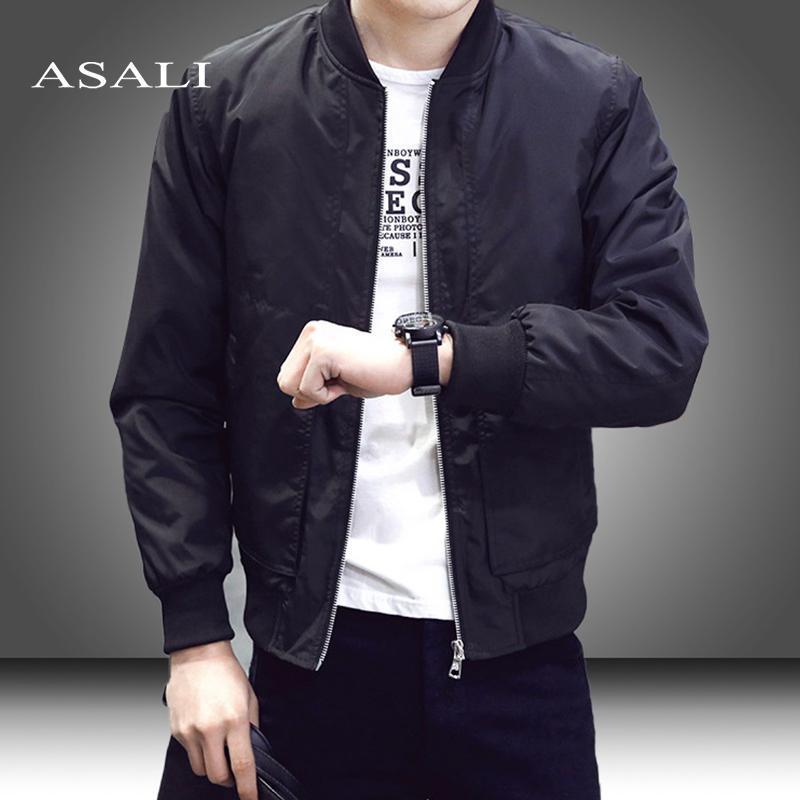 Men/'s Baseball Coat Long Sleeve Zip Up Bomber Thin Casual Sport Jacket Outwear