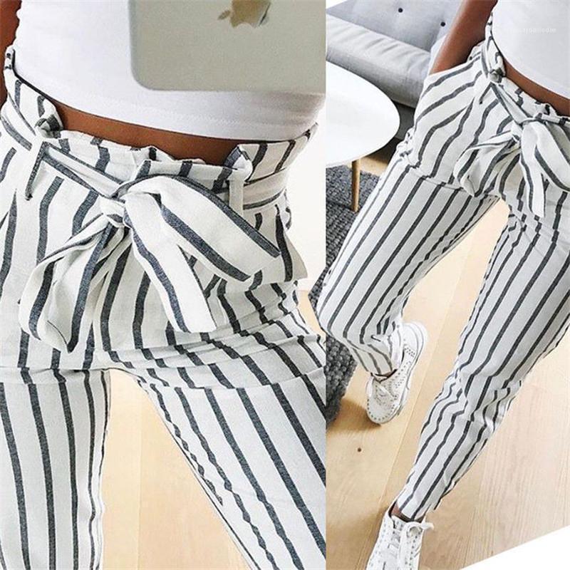 Kemer Yüksek Bel Tasarımcı Kadınlar Kalem Pantolon Kontrast Renk Moda Dişi Pantolon Casual Çizgili ile Pantolon yazdır