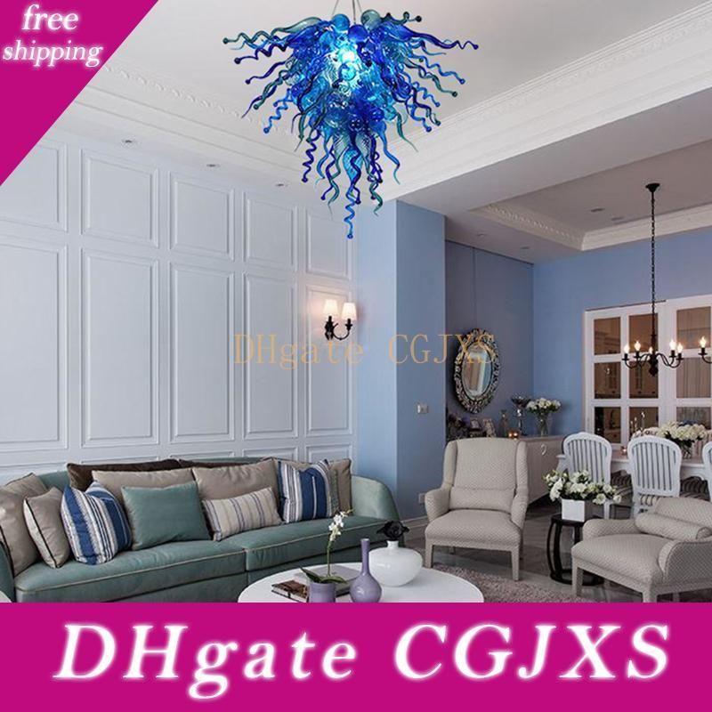 Modern lustres de cristal LED azul Luzes criativa Pendant Light Home Hotel Sala iluminação de vidro Murano chandelier