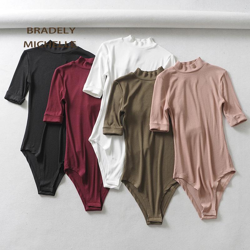 BRADELY MICHELLE magro sexy o-pescoço manga de cinco pontos-bodysuits malha mulheres clube outwear jumpsuits para mulheres Tops CX200810