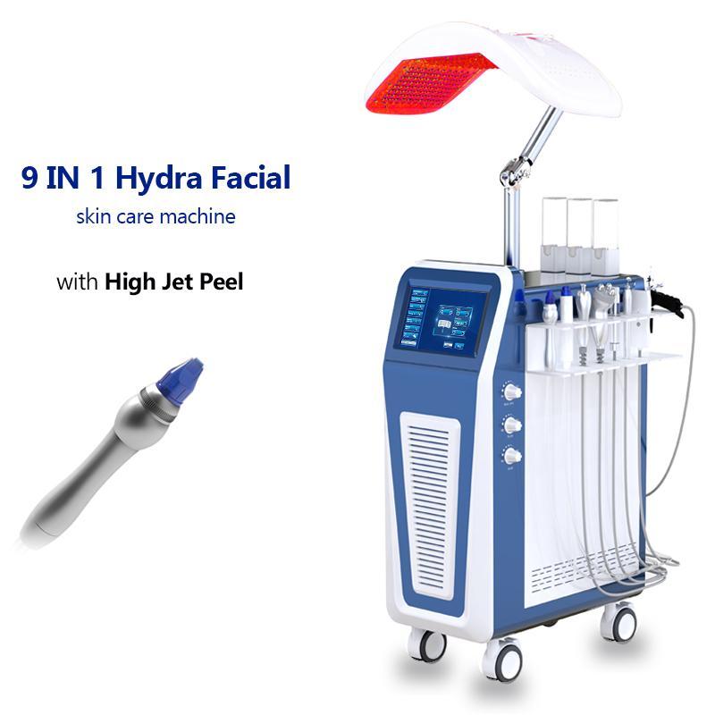9 в 1 Гидро микродермабразие Высокое давление Кислородно-спрей для инжекционной машины кислорода для Anti-Aging RF PDT светодиодная терапия